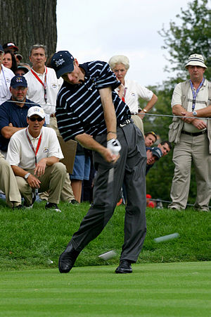 Jim Furyk practicing a day before the 2004 Ryd...